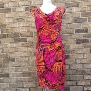 Cowl Neck Multi-Colored Dress